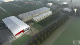 aerial building rendering looing southeast