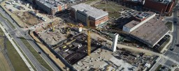 A drone image of the Inpatient Hospital Garage construction site.