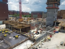 Photo of middle elevator and stair tower progress of the Inpatient Hospital.